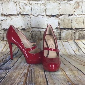 Jessica Simpson Red Mary Jane heels size 8